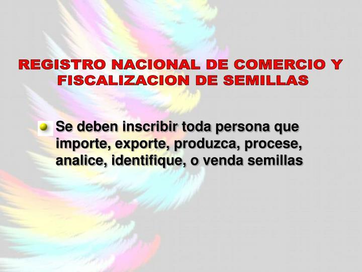 REGISTRO NACIONAL DE COMERCIO Y