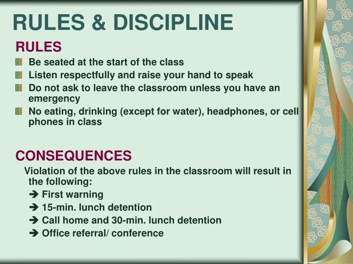 RULES & DISCIPLINE