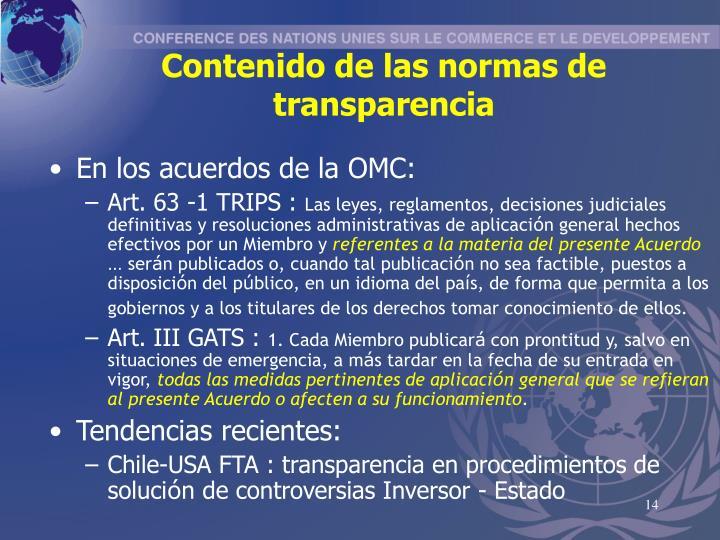 Contenido de las normas de transparencia