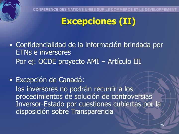 Excepciones (II)