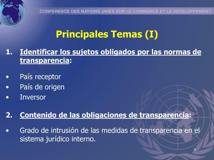 Principales Temas (I)