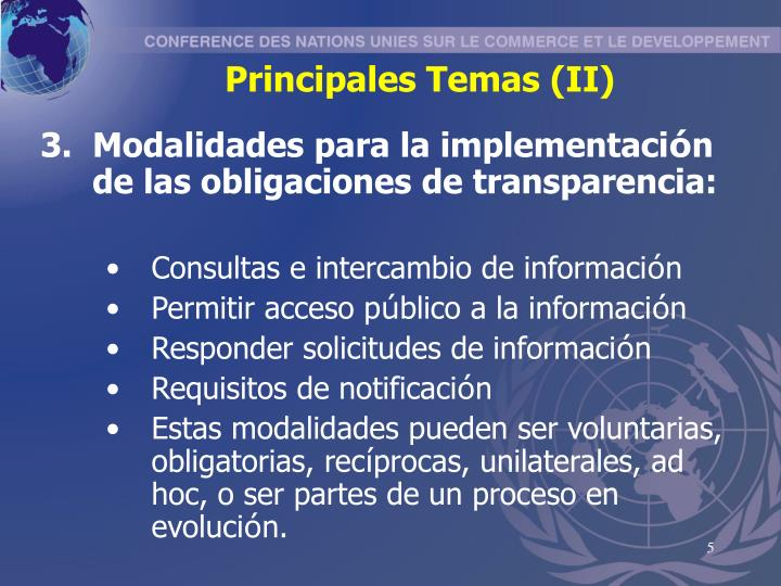 Principales Temas (II)