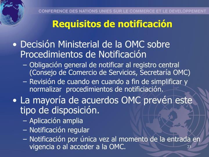 Requisitos de notificación