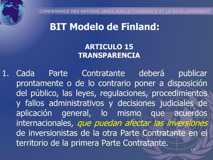 BIT Modelo de Finland:
