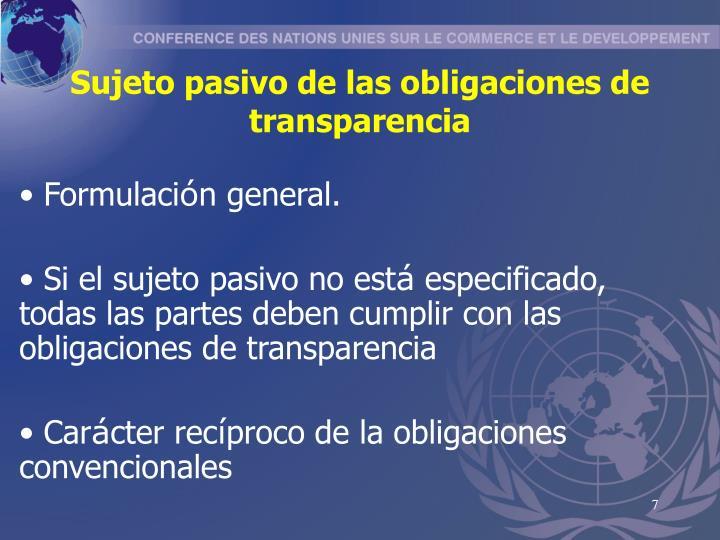 Sujeto pasivo de las obligaciones de transparencia