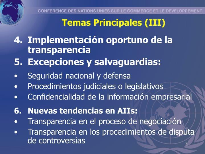 Temas Principales (III)