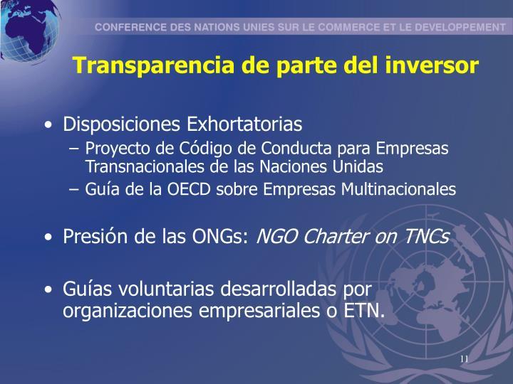 Transparencia de parte del inversor