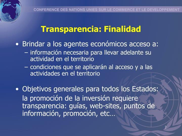 Transparencia: Finalidad