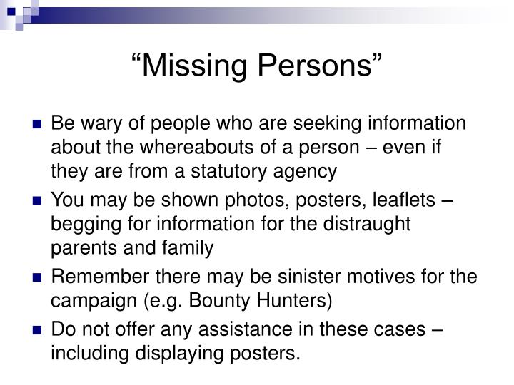 """Missing Persons"""
