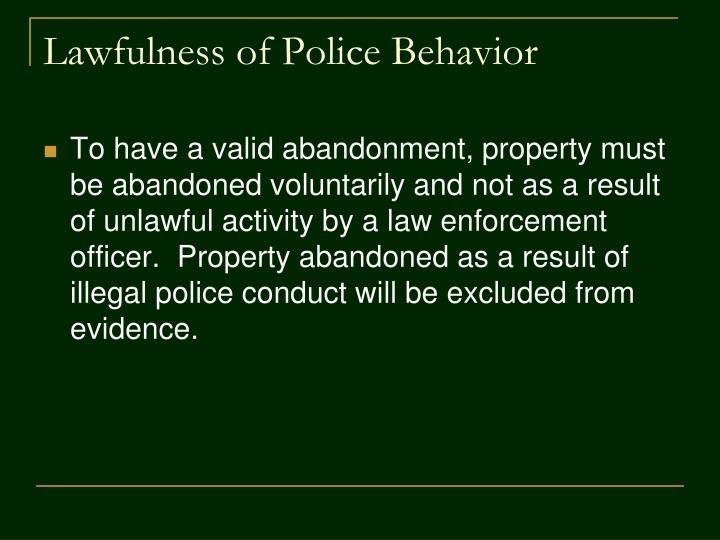 Lawfulness of Police Behavior