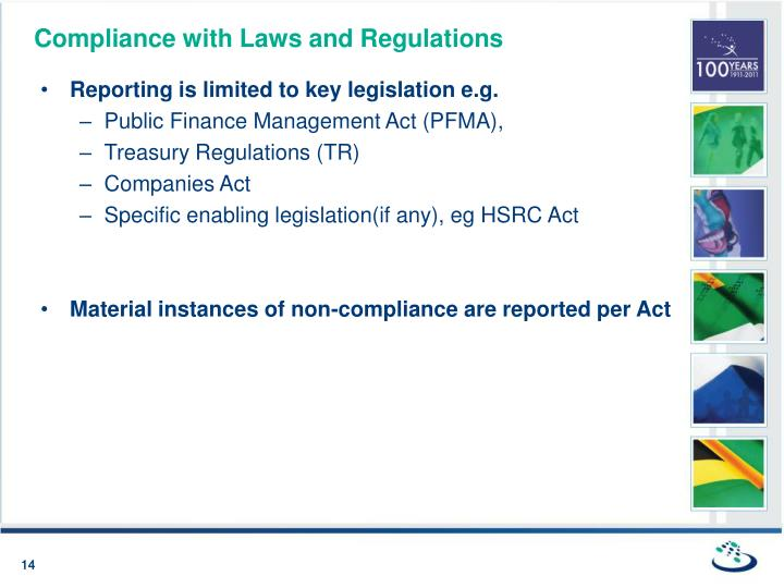 Compliance with Laws and Regulations