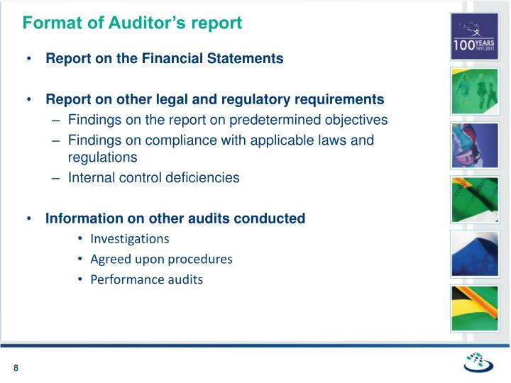 Format of Auditor's report