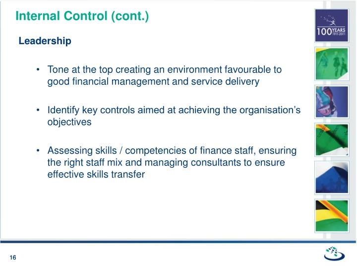 Internal Control (cont.)