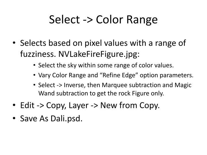 Select -> Color Range