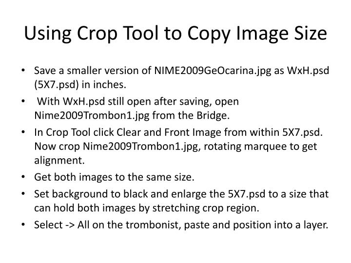 Using Crop Tool to Copy Image Size