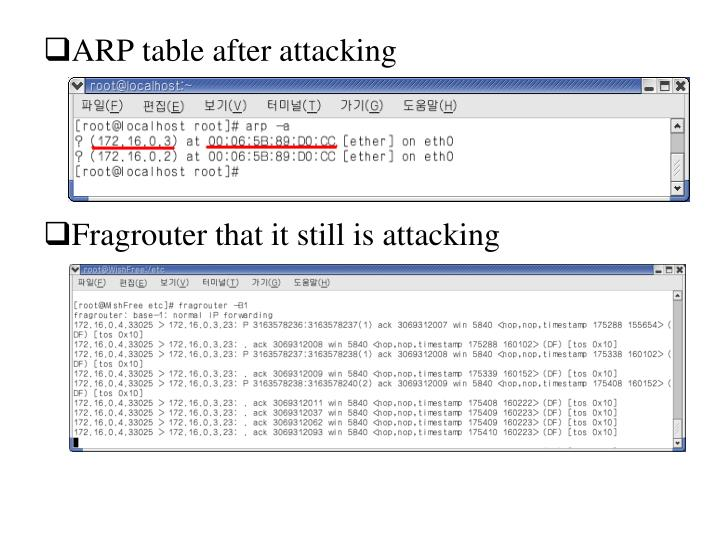 ARP table after attacking