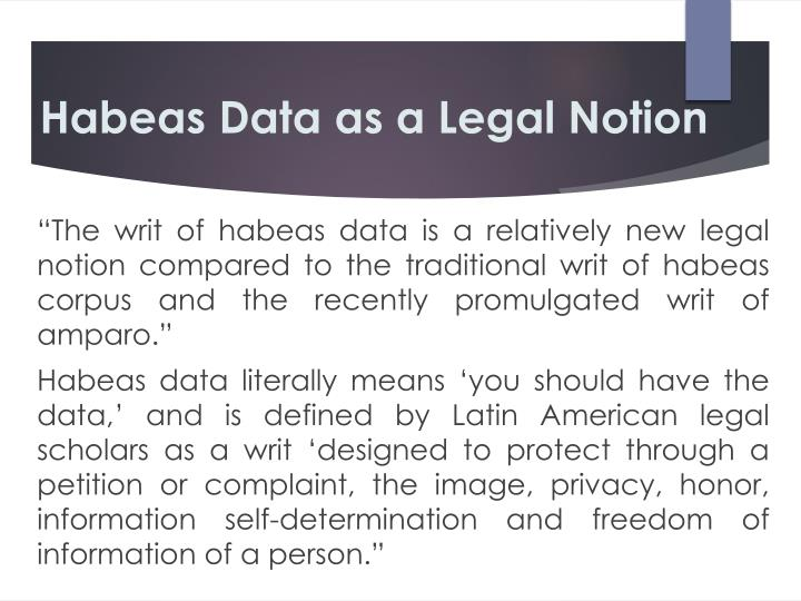 Habeas Data as a Legal Notion