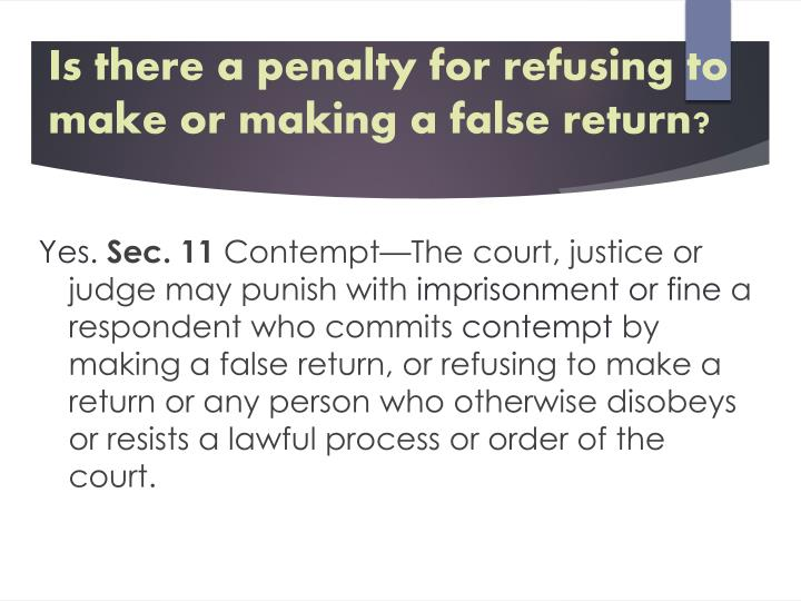 Is there a penalty for refusing to make or making a false return?