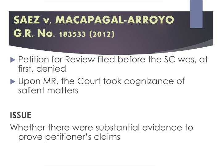SAEZ v. MACAPAGAL-ARROYO