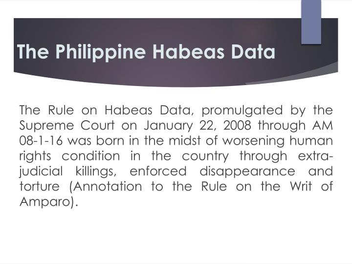 The Philippine Habeas Data
