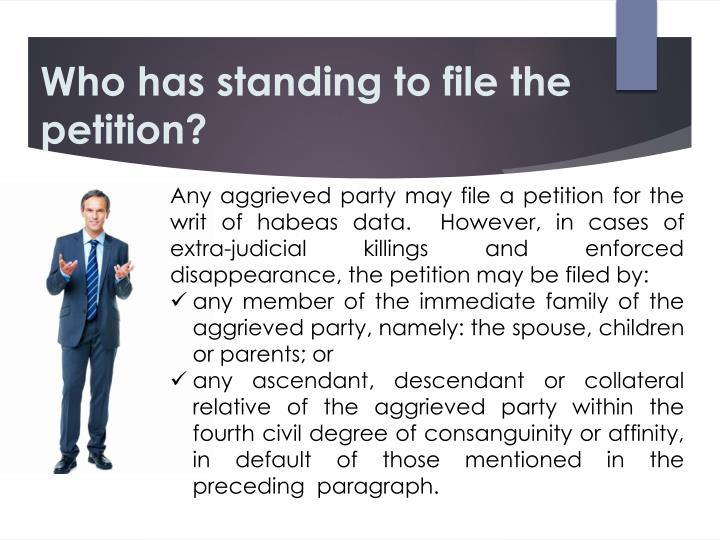 Who has standing to file the petition?