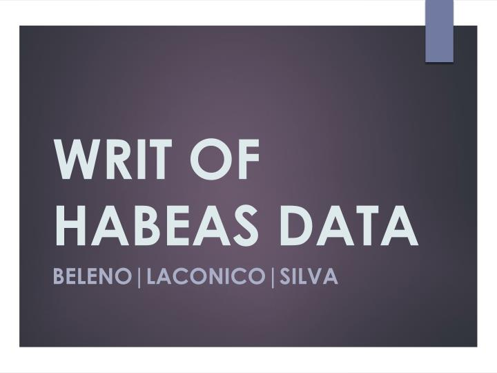 Writ of habeas data
