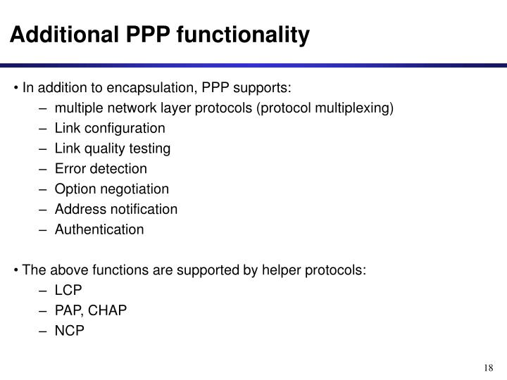 Additional PPP functionality