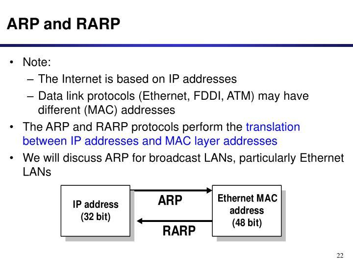 ARP and RARP