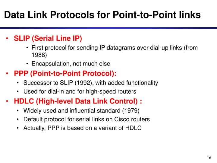 Data Link Protocols for Point-to-Point links