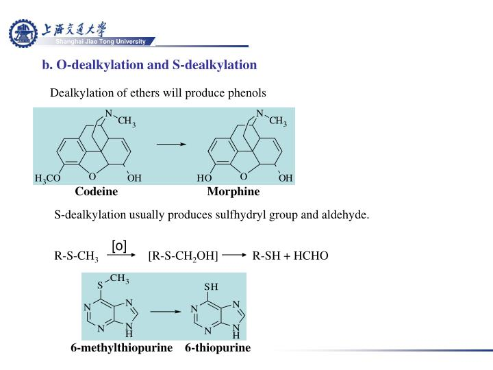 b. O-dealkylation and S-dealkylation