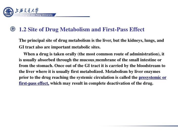 1.2 Site of Drug Metabolism and First-Pass Effect