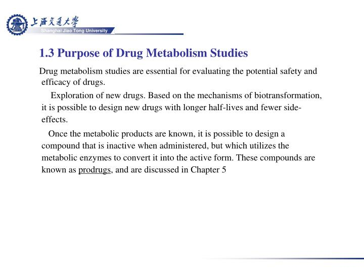 1.3 Purpose of Drug Metabolism Studies
