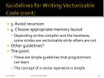 guidelines for writing vectorizable code cont