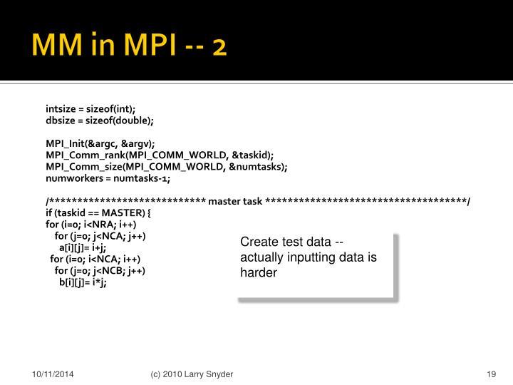 MM in MPI -- 2