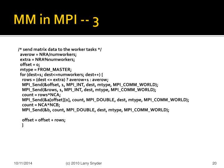MM in MPI -- 3