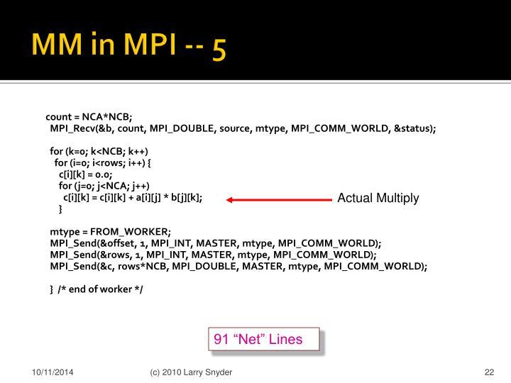 MM in MPI -- 5