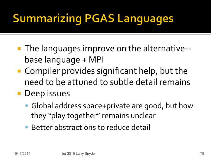 Summarizing PGAS Languages
