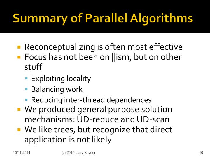 Summary of Parallel Algorithms