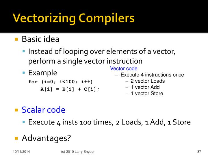 Vectorizing Compilers