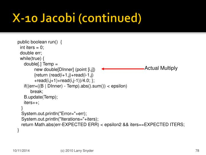X-10 Jacobi (continued)
