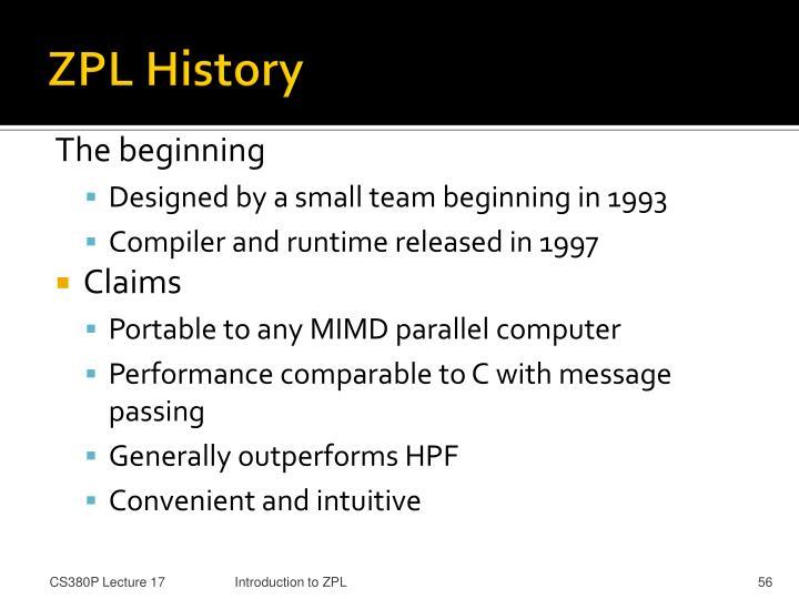 ZPL History