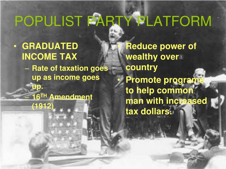 formation of the populist party populist party in us  in some states the party was known as the people's party formation of the party during the panic of 1873 agricultural prices in the .
