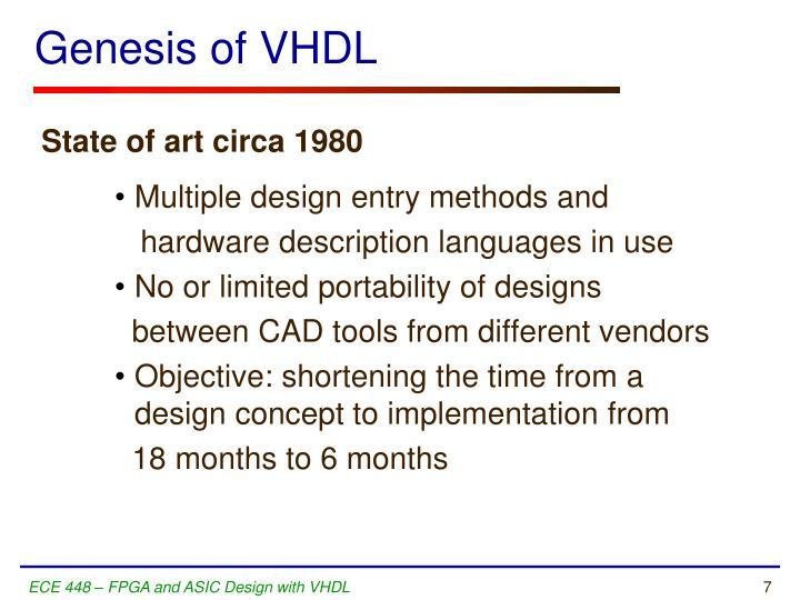Genesis of VHDL