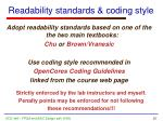 readability standards coding style