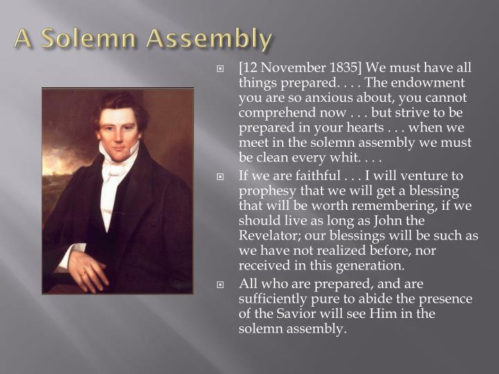 A Solemn Assembly