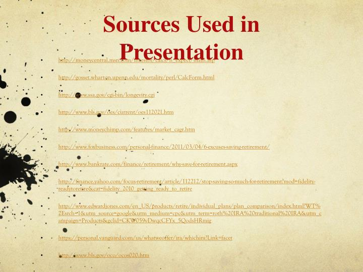 Sources Used in Presentation