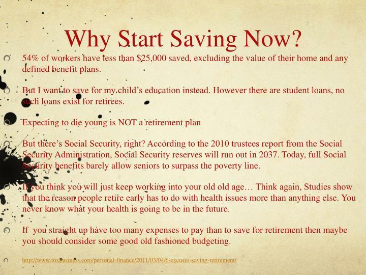 Why Start Saving Now?