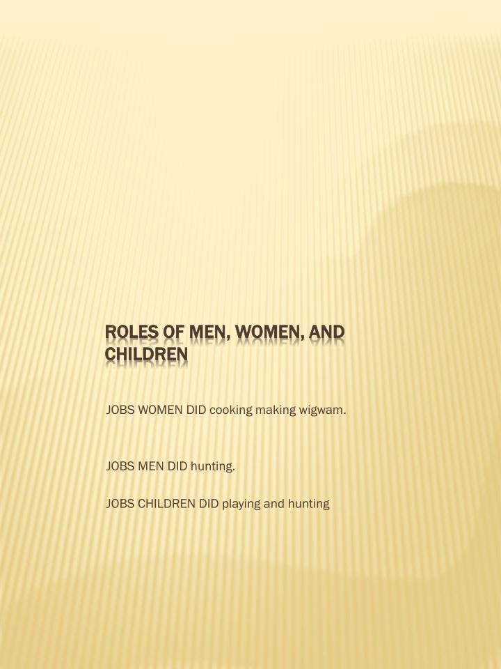 ROLES OF MEN, WOMEN, AND CHILDREN