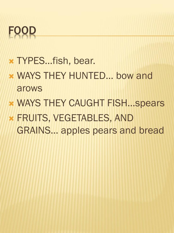 TYPES…fish, bear.