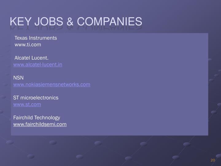 Key Jobs & Companies